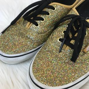 9c32b9350032 Vans Shoes - VANS Glitter Gold Micro Dots Black Laced Shoes